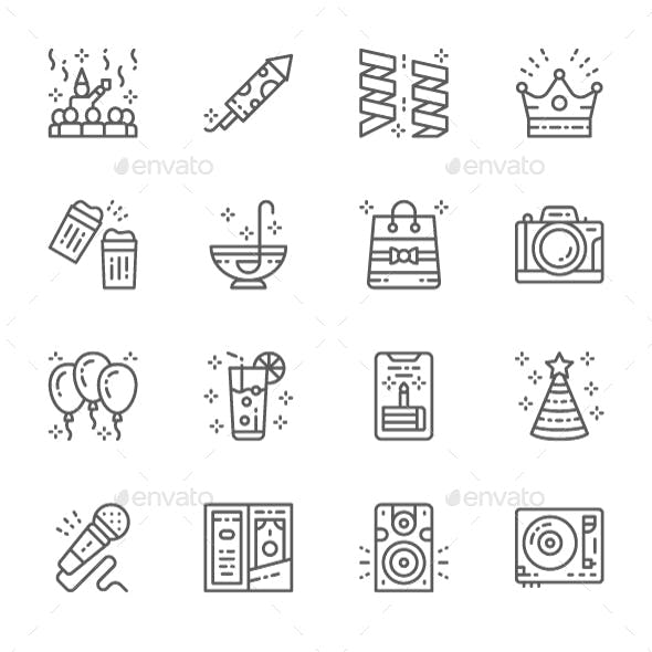 Set Of Party Line Icons. Pack Of 64x64 Pixel Icons