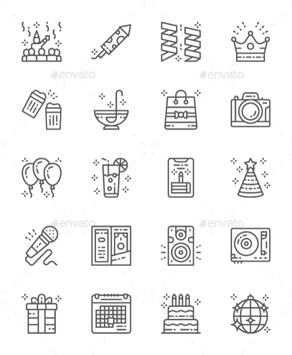 Set Of Party Line Icons. Pack Of 64x64 Pixel Icons - Objects Icons