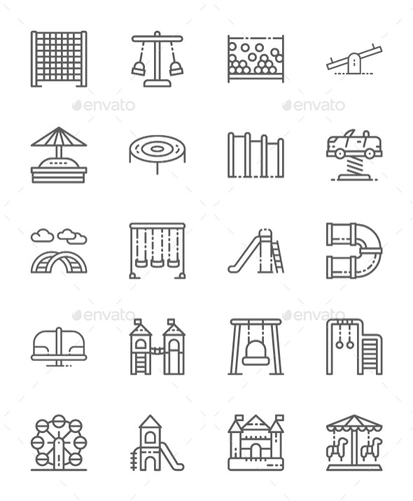 Set Of Playground Line Icons. Pack Of 64x64 Pixel Icons - Objects Icons