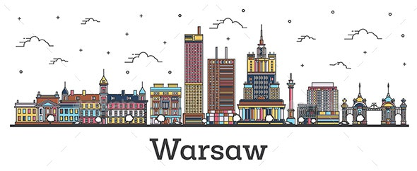 Outline Warsaw Poland City Skyline with Color Buildings Isolated on White - Buildings Objects