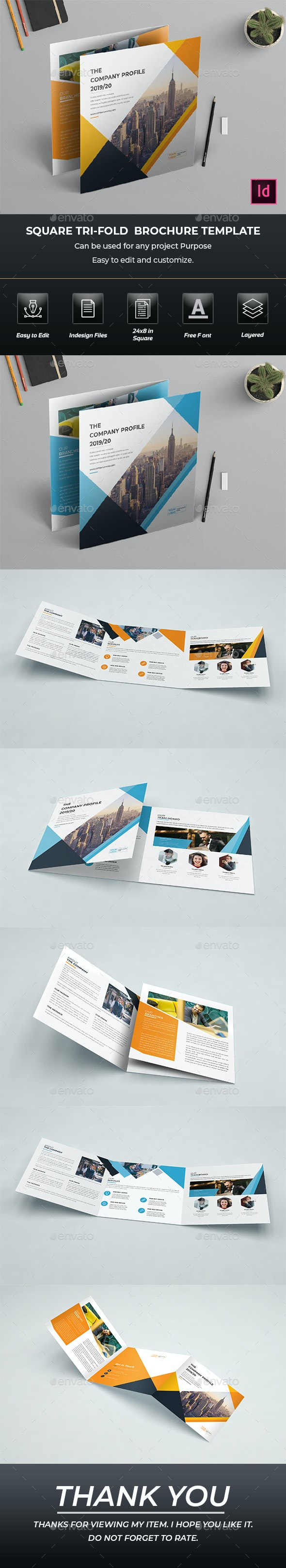 Square Trifold Brochure InDesign Template - Brochures Print Templates