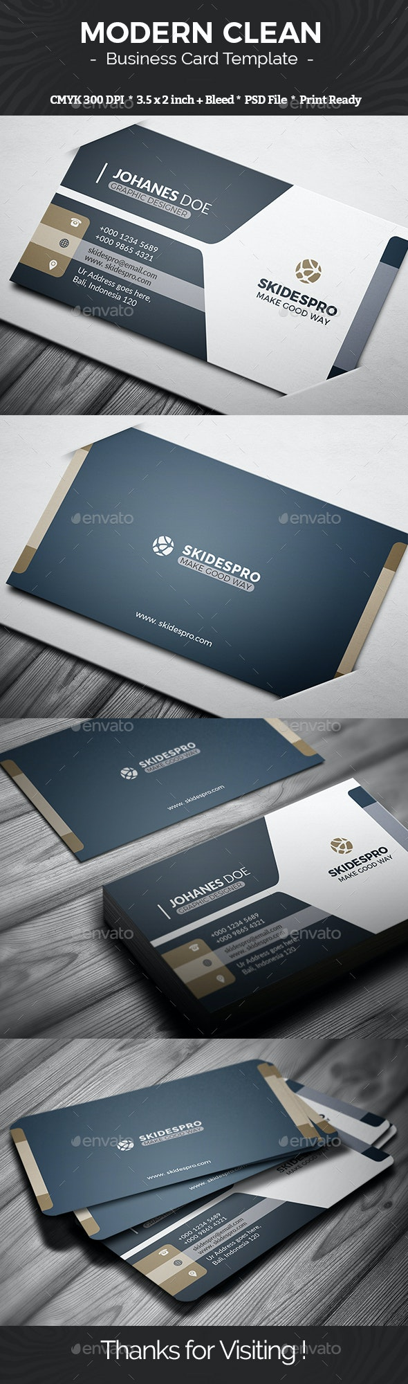 Modern Clean - Business Cards Print Templates