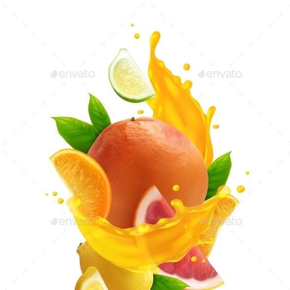 Citrus Juice Realistic Composition