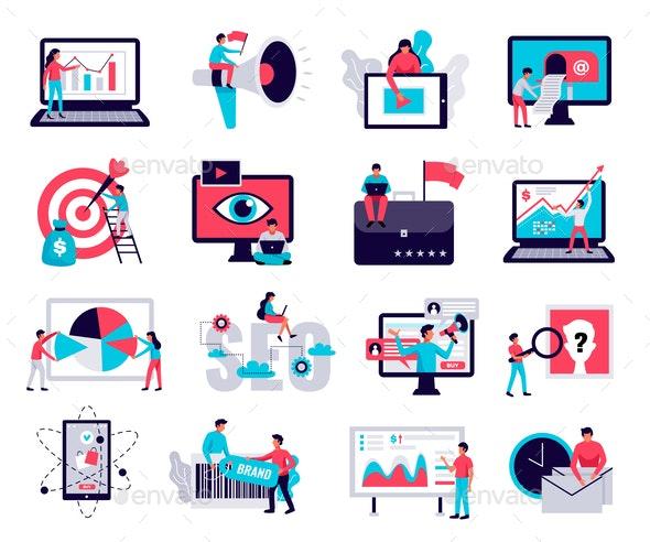 Digital Marketing Icons Set - Computers Technology