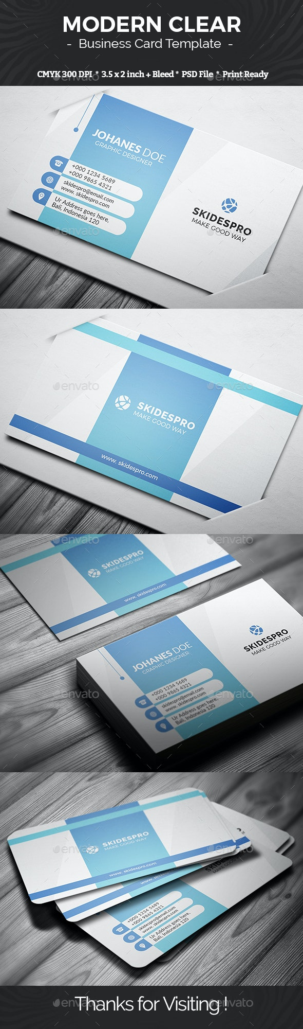 Modern Clear - Business Cards Print Templates