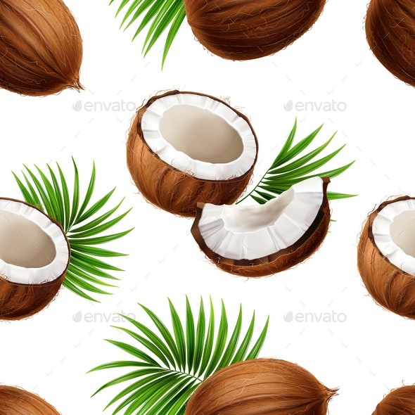 Coconut Realistic Seamless Pattern - Miscellaneous Vectors