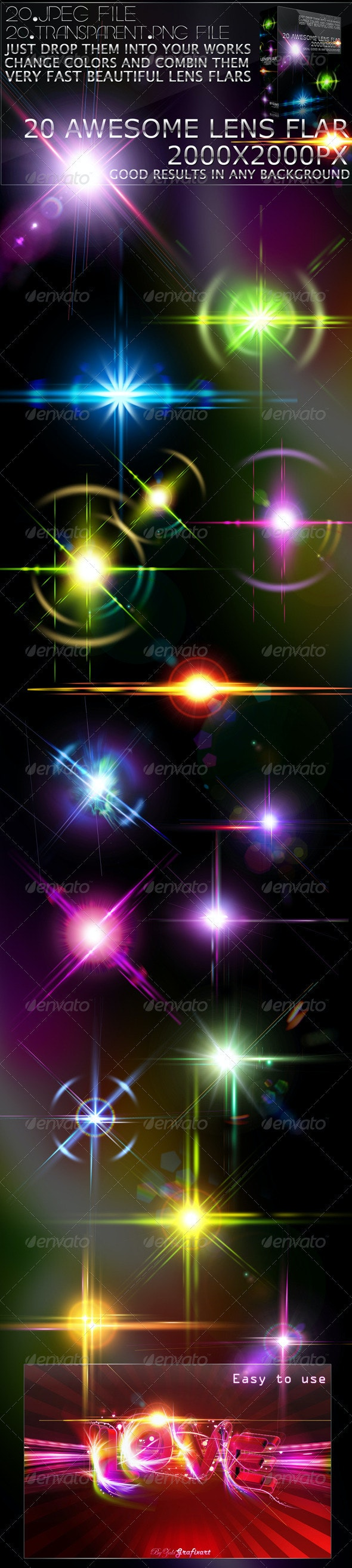 20 Lens Flar Lights Effects - Abstract Backgrounds