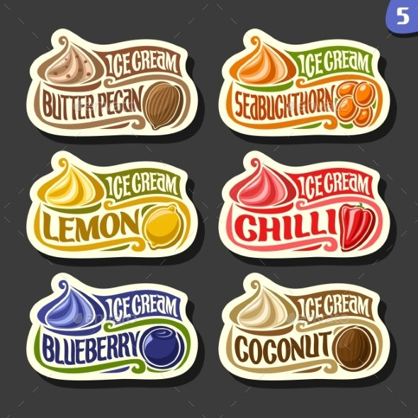 Vector Set of Fruit Ice Cream - Food Objects