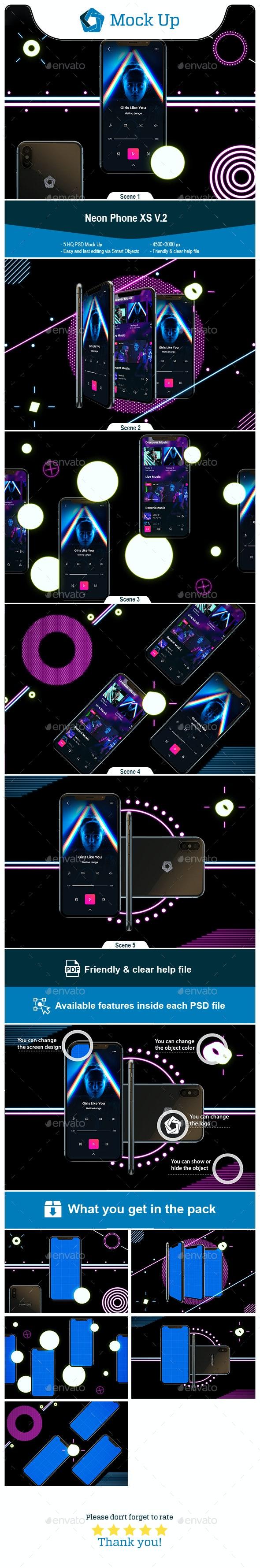 Neon Phone XS V.2 Mockup - Mobile Displays