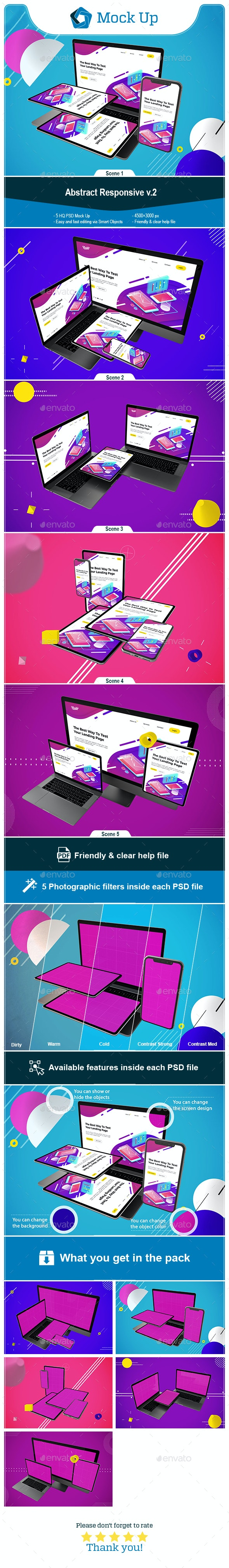 Abstract Responsive v.2 - Displays Product Mock-Ups