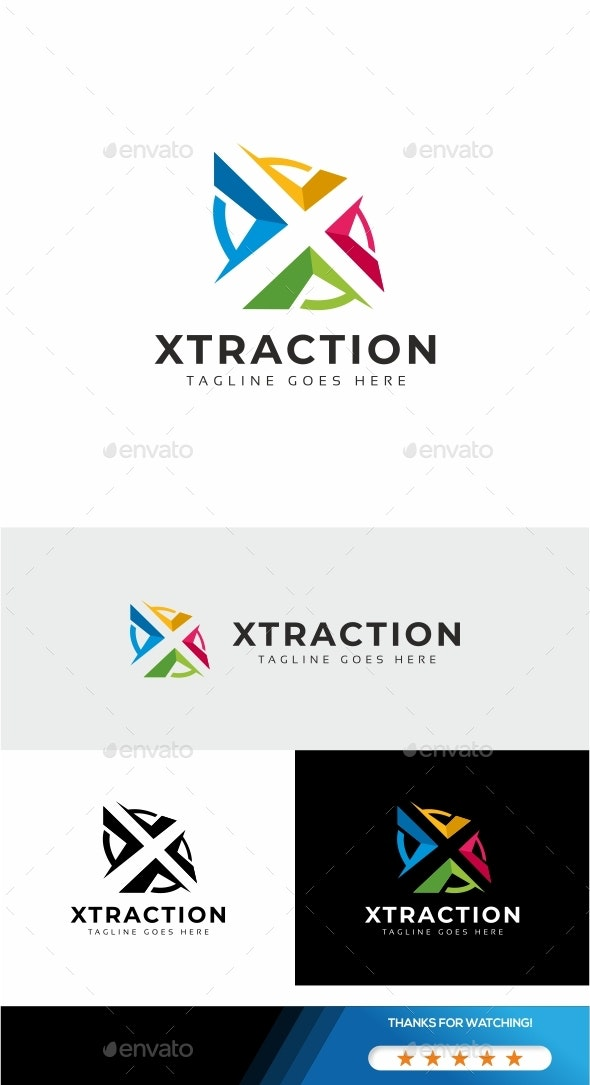 Letter X - Xtraction Logo - Letters Logo Templates