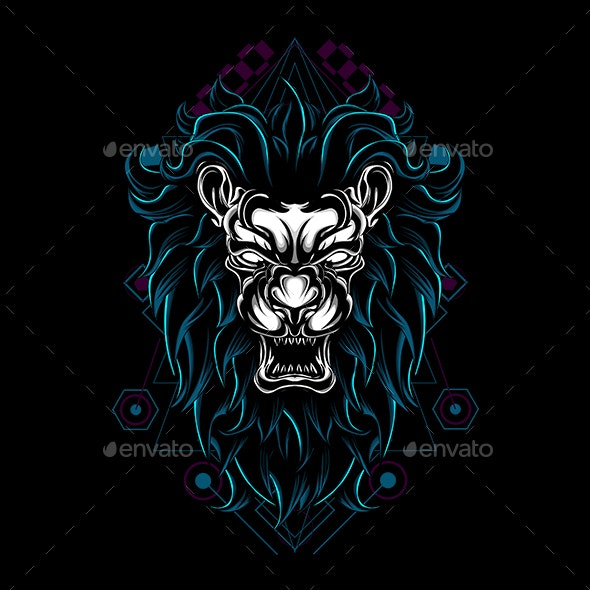 Lion Angry Sacred Geometry - Animals Characters