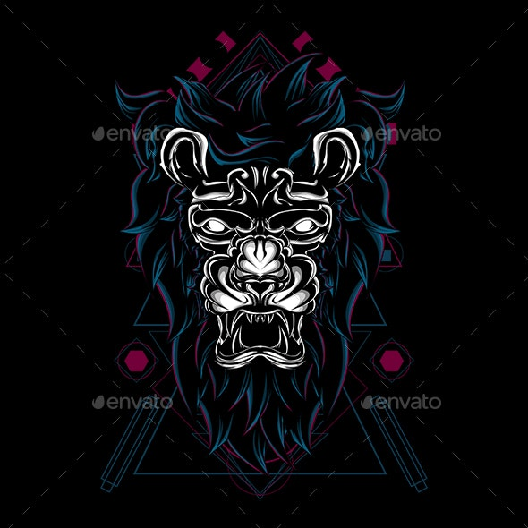 The Myhtical Lion Angry Sacred Geometry - Animals Characters