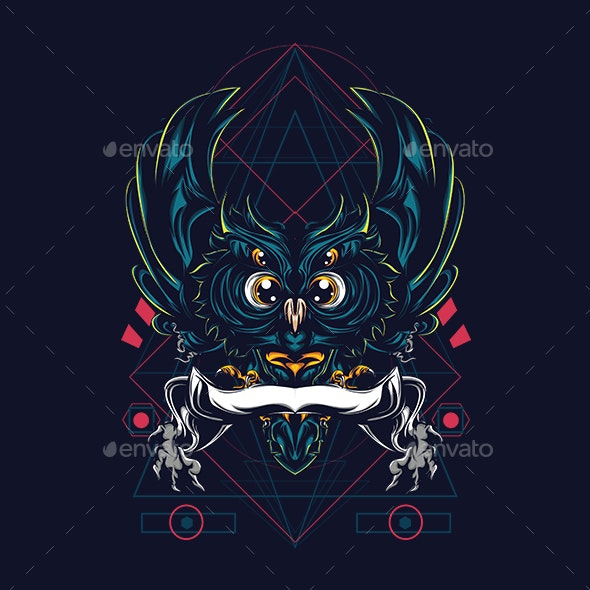 The Owl Sacred Geometry - Animals Characters