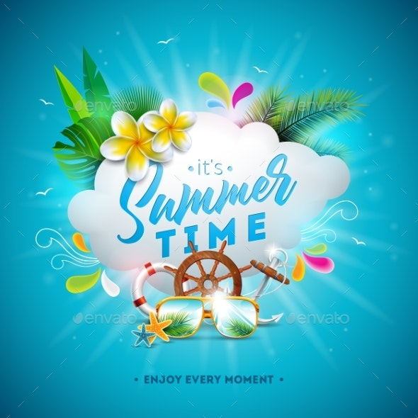Vector Summer Time Illustration with Flower - Seasons Nature
