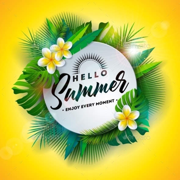 Hello Summer Illustration with Typography Letter - Seasons Nature
