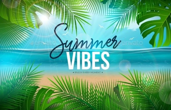 Vector Summer Vibes Illustration with Palm Leaves - Landscapes Nature