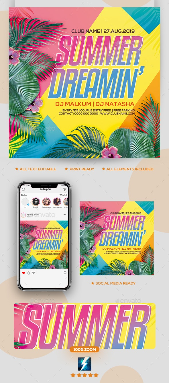 Summer Deramin Party Flyer - Clubs & Parties Events