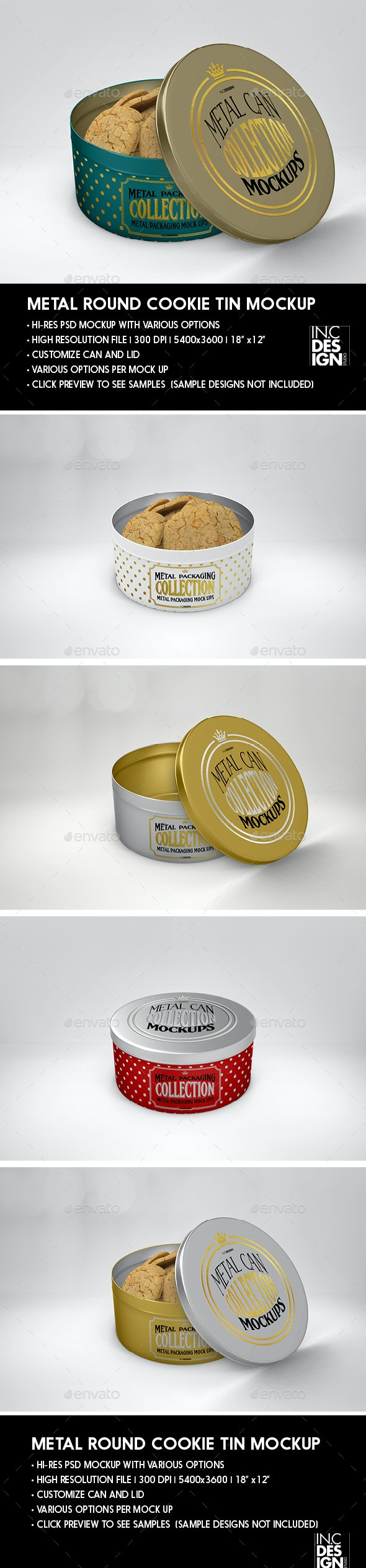 Metal Round Cookie Tin Packaging Mockup - Food and Drink Packaging