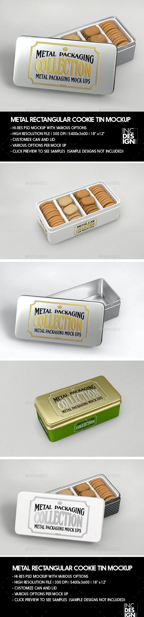 Metal Rectangular Cookie Tin  Packaging Mockup - Food and Drink Packaging