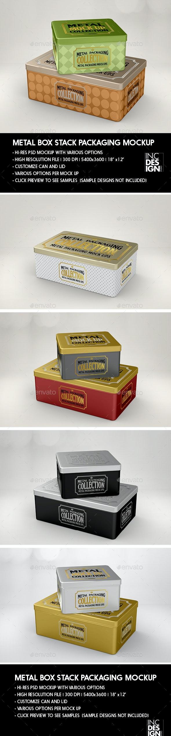 Metal Box Stack Packaging Mockup - Packaging Product Mock-Ups