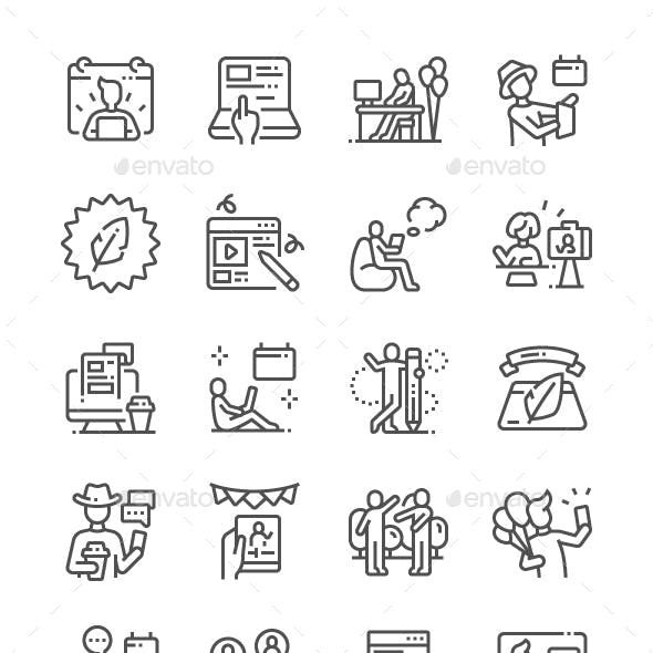 International Bloggers Day Line Icons