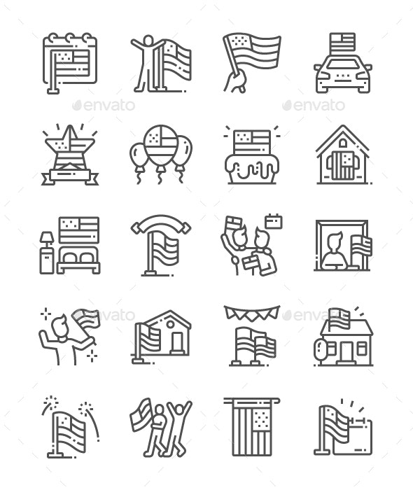 American Flag Day Line Icons - Miscellaneous Characters