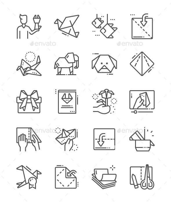 Origami Line Icons - Miscellaneous Characters