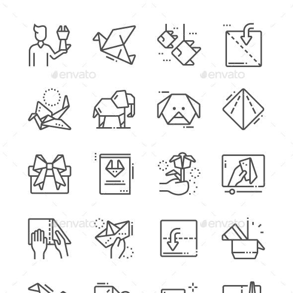 Origami Line Icons
