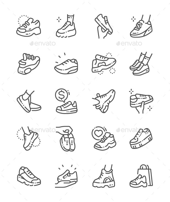 Sneakers Line Icons