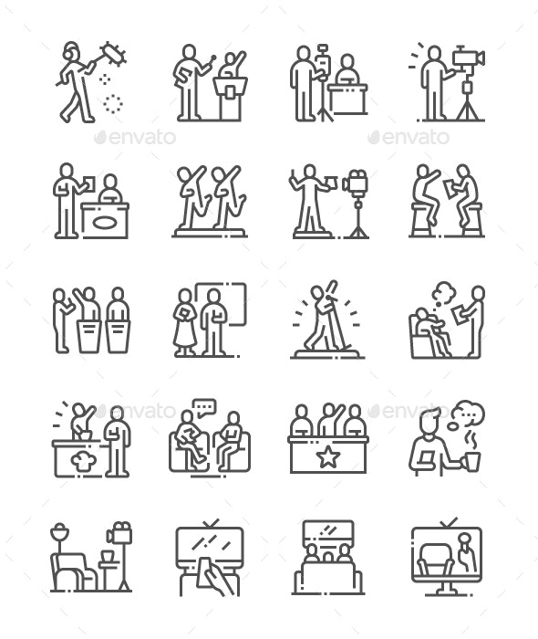 TV Shows Line Icons - Media Icons