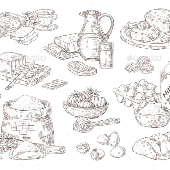 Hand Drawn Bakery Goods