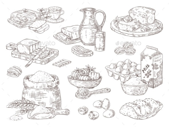 Hand Drawn Bakery Goods - Food Objects
