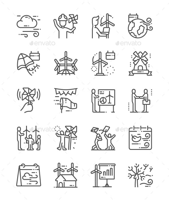 Global Wind Day Line Icons - Miscellaneous Characters