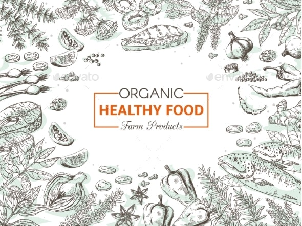 Hand Drawn Organic Food - Food Objects
