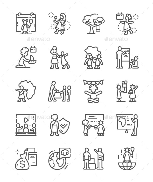 Day of the African Child Line Icons - Miscellaneous Characters