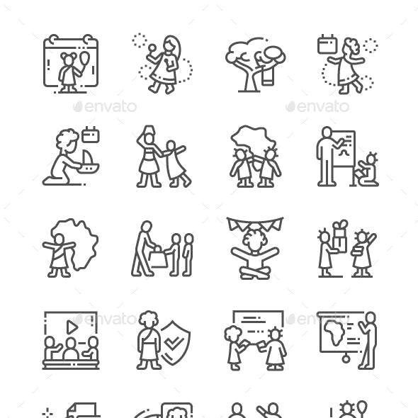 Day of the African Child Line Icons