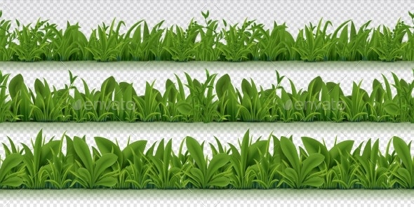 Realistic Seamless Grass Border Spring Pattern - Flowers & Plants Nature