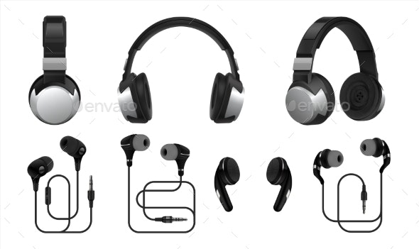Realistic Headphones - Man-made Objects Objects