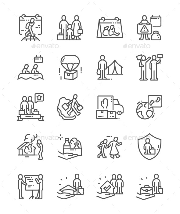 World Refugee Day Line Icons - Miscellaneous Characters