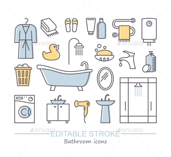 Line Set of Bathroom Icons - Man-made Objects Objects