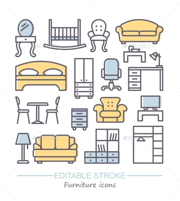 Line Furniture Icons Set - Man-made Objects Objects