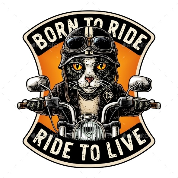 Cat Driving a Motorcycle Rides Vector Vintage - Animals Characters