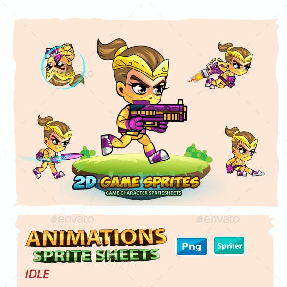 NinjaGirl 2D Game Sprites