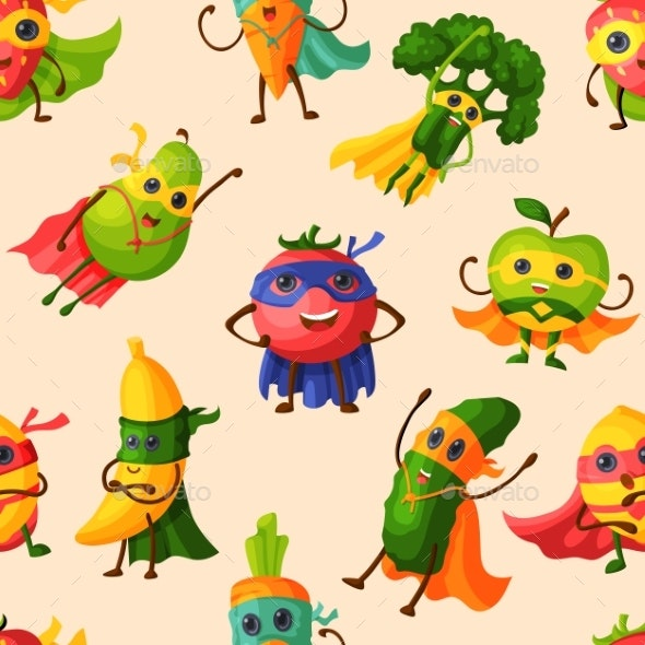 Superhero Fruits Vector Fruity Cartoon Character - Food Objects