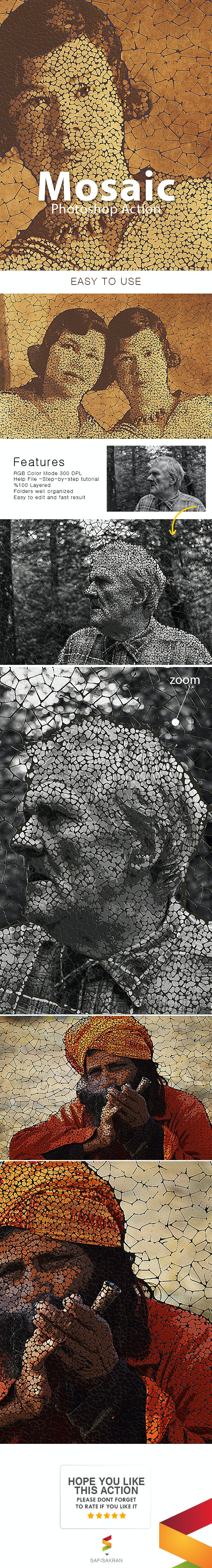 Mosaic Photoshop Action - Photo Effects Actions