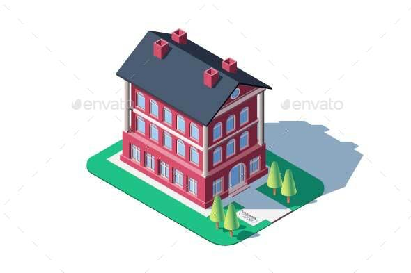 Administrative Red Building - Buildings Objects