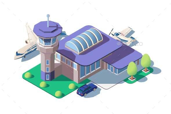 Big Modern Airport - Buildings Objects