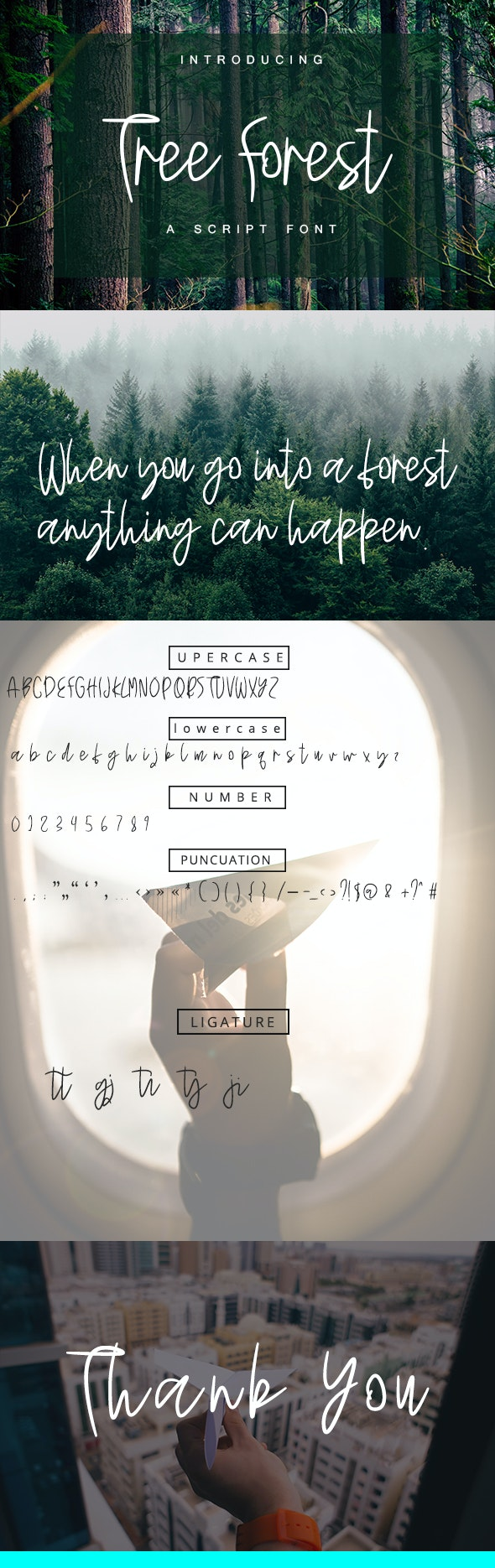 Tree Forest - Script Font - Hand-writing Script