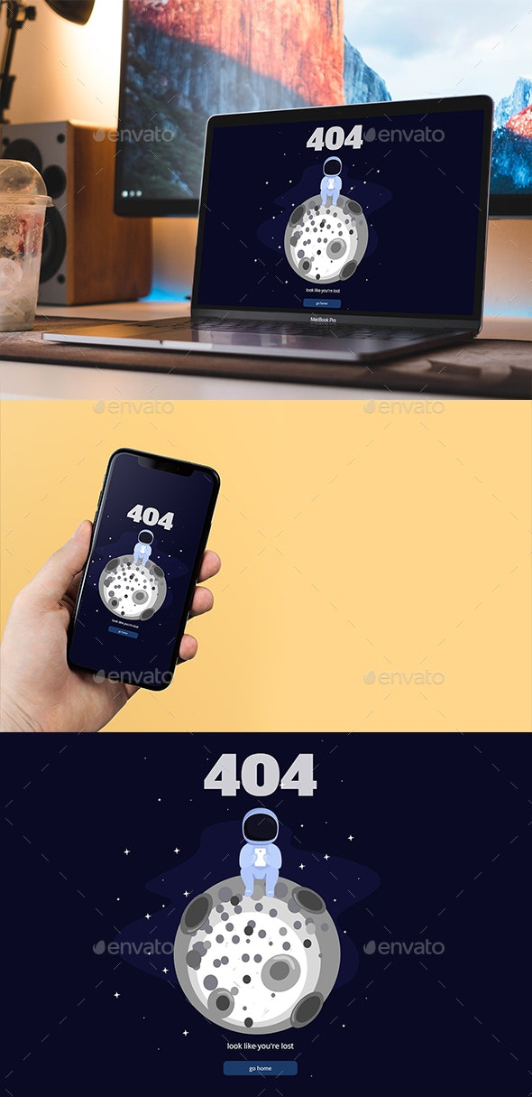404 Animated Error Page - 404 Pages Web Elements